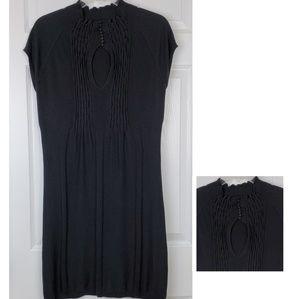 Armani exchange black silk key hole dress size L